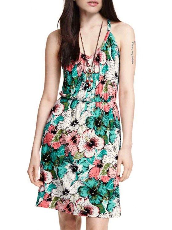 fashion Full Flower Print Cami Dress - COLORMIX XL