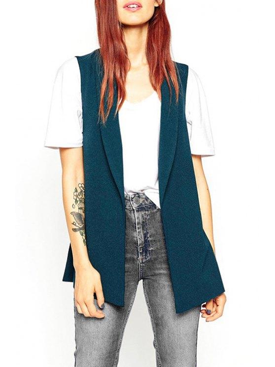 womens Lapel Solid Color Side Slit Waistcoat - GREEN XS