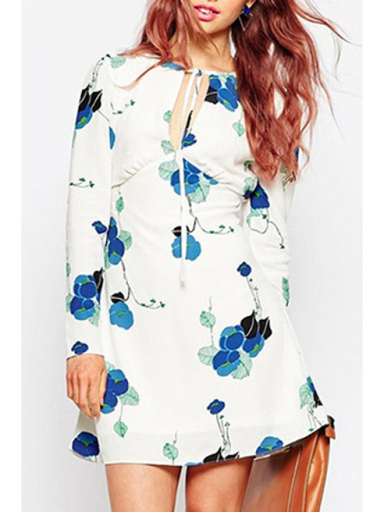 women's Plunging Neck Long Sleeve Floral Dress - WHITE XS