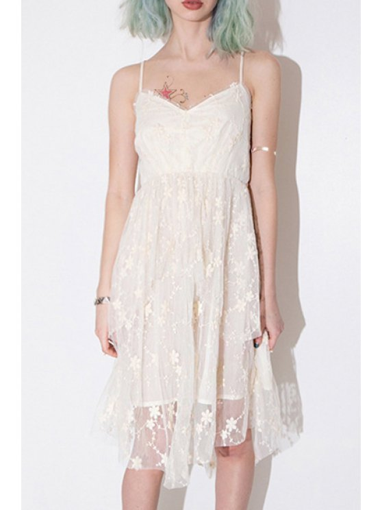 shop Floral Embroidery Cami Lace Dress - WHITE S