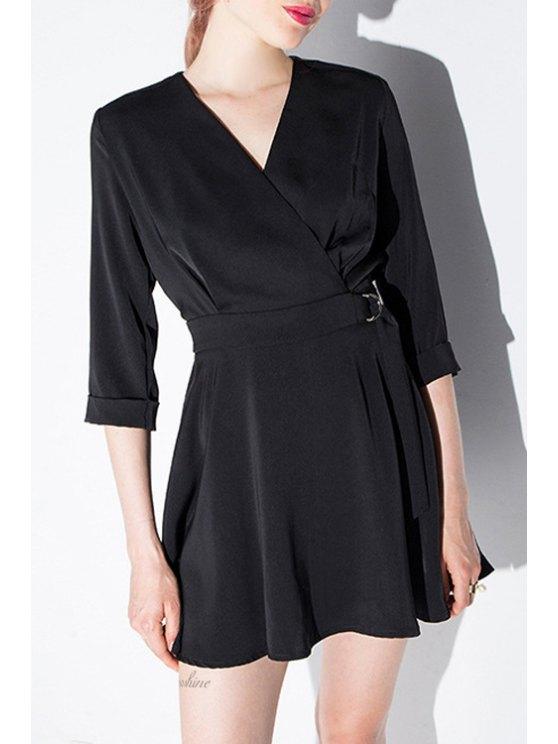 trendy Cross-Over Collar 3/4 Sleeve Black Dress - BLACK XS