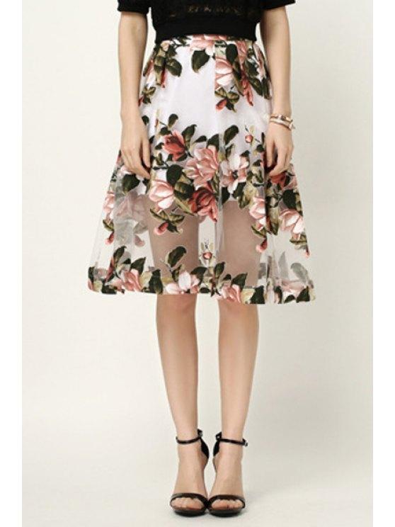 new Jacquard Flower Print See-Through Voile Skirt - WHITE XS
