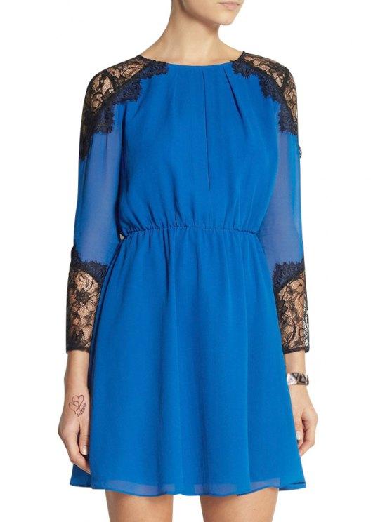 hot Lace Spliced Nine-Minute Sleeve Dress - BLUE S