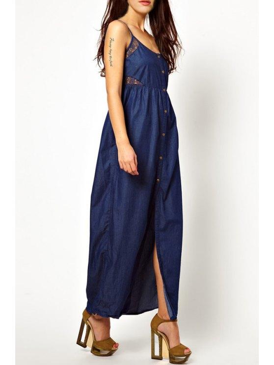 hot Sleeveless Single-Breasted Denim Dress - BLUE M