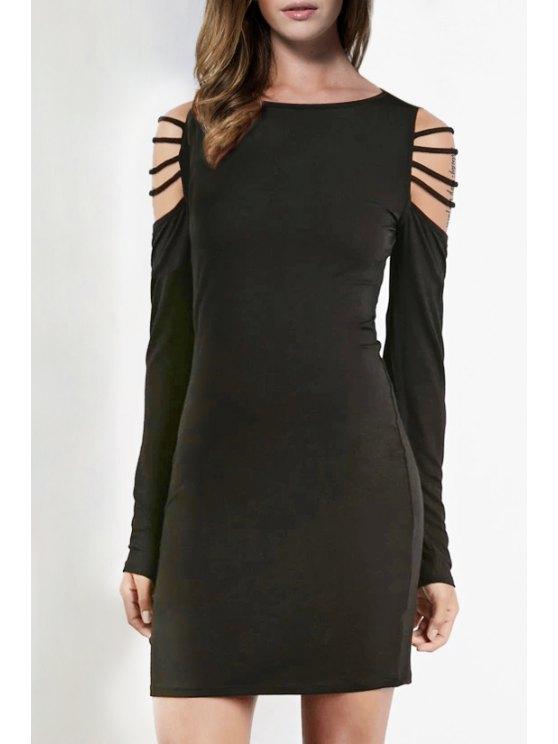 hot Long Sleeve Hollow Shoulder Bodycon Dress - BLACK XS
