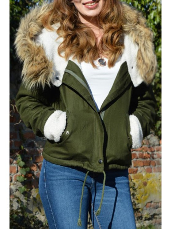 outfits Faux Fur Hooded Long Sleeve Drawstring Coat - GREEN ONE SIZE(FIT SIZE XS TO M)