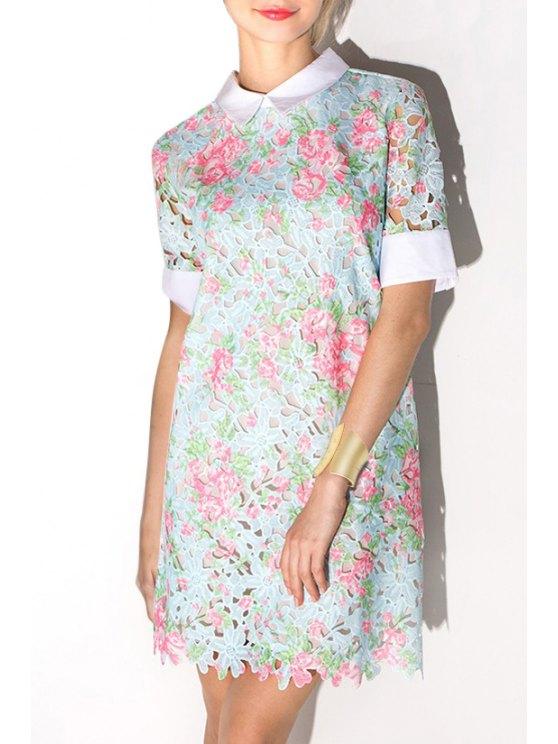 womens Crochet Flower Openwork Lace Dress - LIGHT BLUE XS