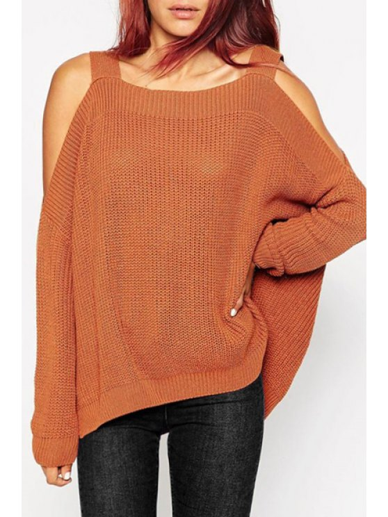 shops Long Sleeve Off-The-Shoulder Sweater - LIGHT BROWN ONE SIZE(FIT SIZE XS TO M)