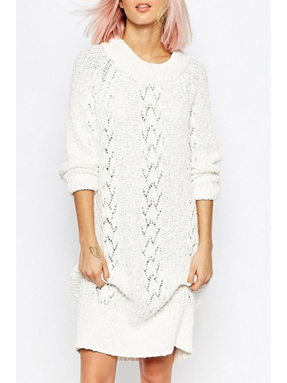 latest Openwork White Sweater Dress - WHITE ONE SIZE(FIT SIZE XS TO M)
