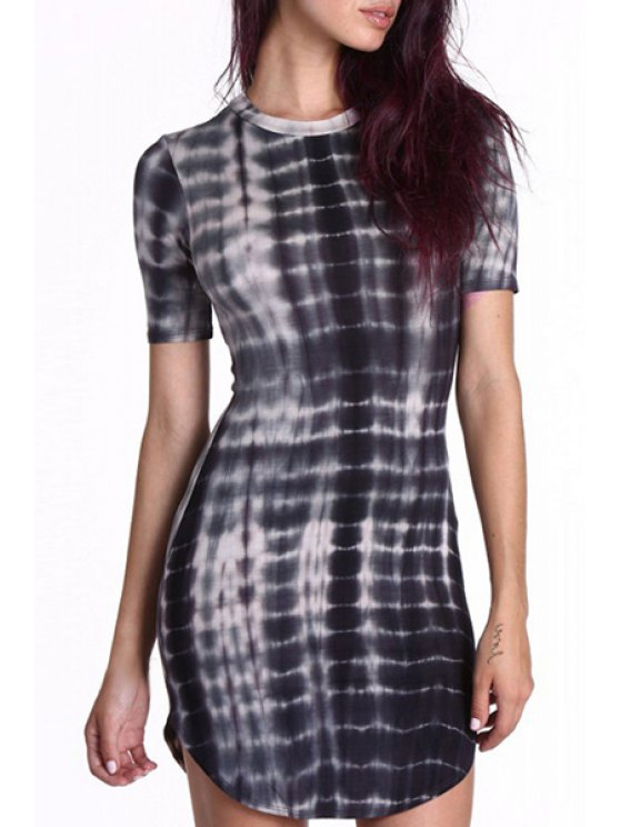 lady Abstract Print Gradient Color Round Collar Short Sleeves Dress - BLACK XS