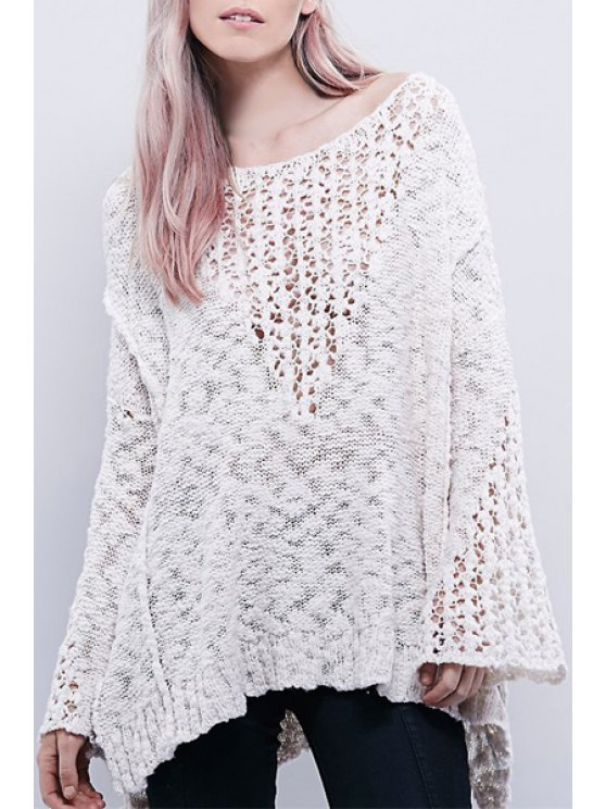 fancy Bell Sleeve Openwork Loose-Fitting Sweater - OFF-WHITE ONE SIZE(FIT SIZE XS TO M)