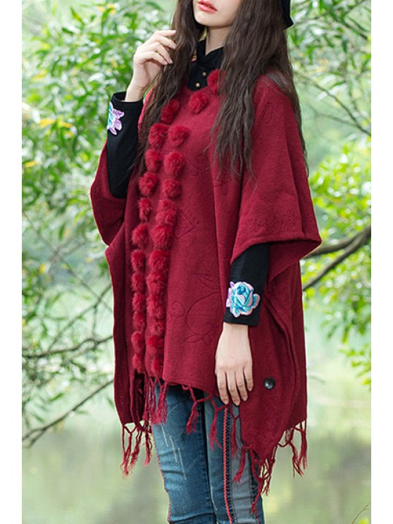 women Batwing Sleeve Fringed Hair Ball Poncho - WINE RED ONE SIZE(FIT SIZE XS TO M)