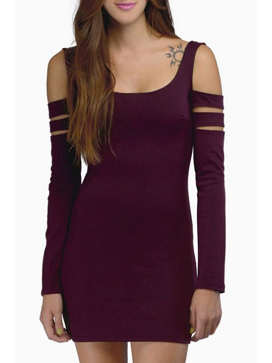 outfits Cut Out Scoop Neck Long Sleeve Bodycon Dress - WINE RED S