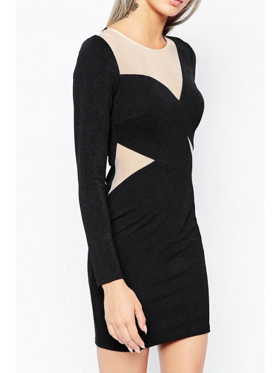 trendy Voile Spliced Sexy Round Collar Long Sleeves Dress - BLACK XS