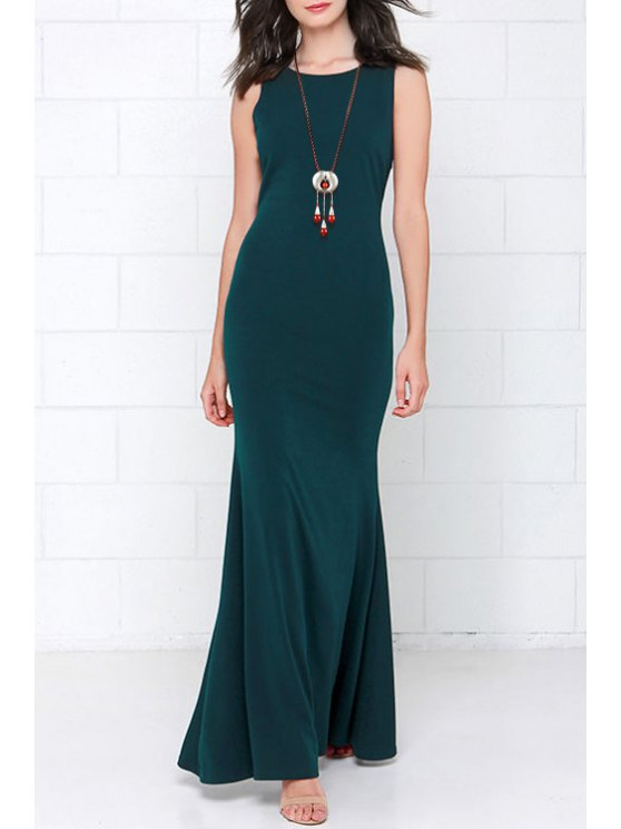 latest Backless Solid Color Flounce Sleeveless Sexy Maxi Dress - GREEN XS