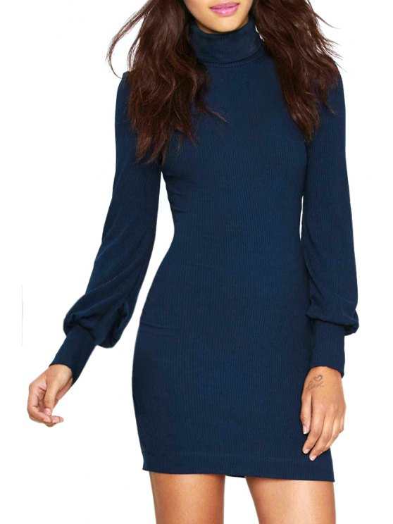 women Solid Color Turtle Neck Long Sleeves Dress - BLUE S