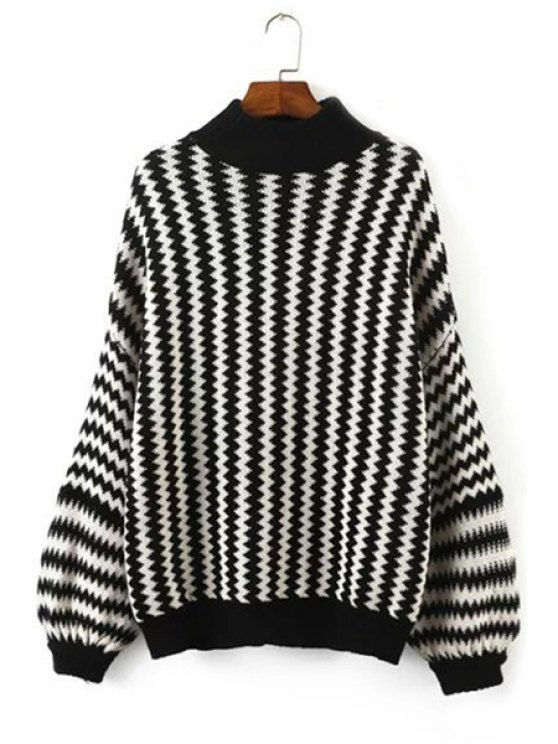 womens Turtle Neck Striped Sweater - BLACK AND WHITE ONE SIZE(FIT SIZE XS TO M)