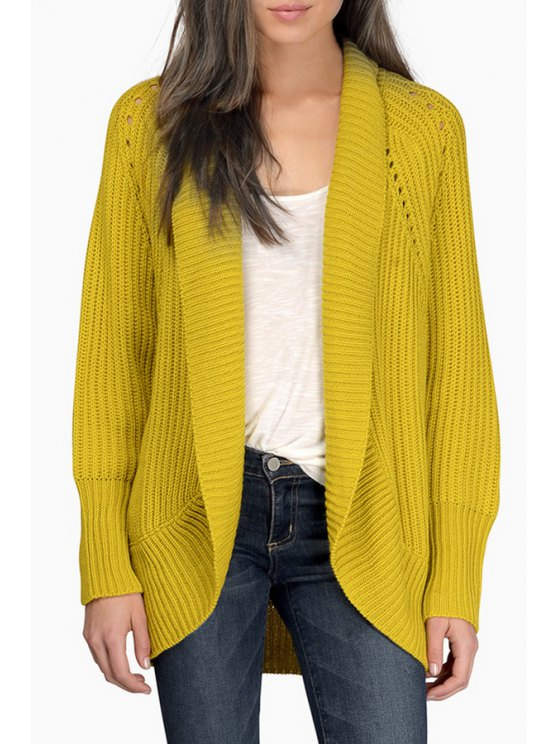 outfit Solid Color Hollow Out Long Sleeves Cardigan - YELLOW XS