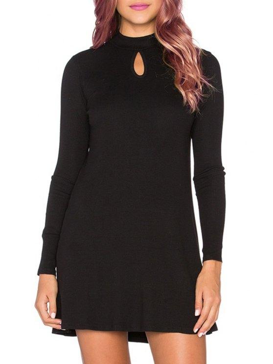 sale Long Sleeve Keyhole Design Dress - BLACK S
