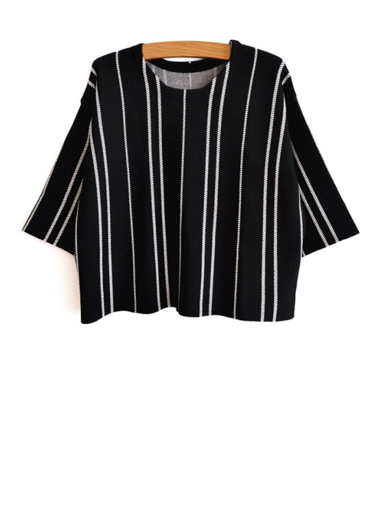 sale Half Sleeve Vertical Stripes Knitwear - BLACK AND WHITE XS