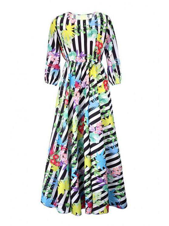 fashion Floral Striped Round Neck Maxi Dress - COLORMIX S