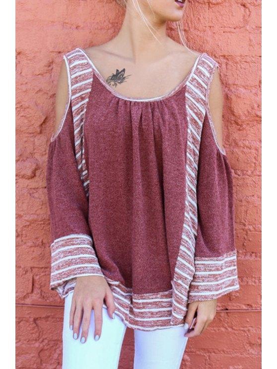 women Stripes Spliced Long Sleeve Hollow T-Shirt - RED S
