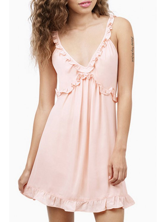 fancy Solid Color Flouncing Spaghetti Strap Plunging Neck Dress - LIGHT PINK XS