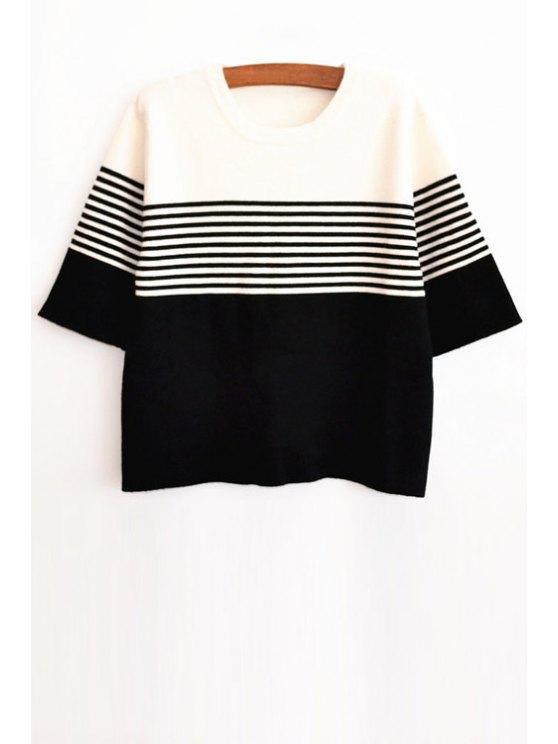 hot Stripe Spliced Half Sleeve Jumper - WHITE AND BLACK XS