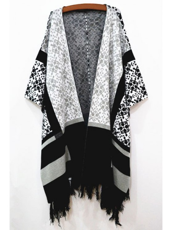 buy Long Sleeve Geometric Pattern Cape - WHITE AND BLACK ONE SIZE(FIT SIZE XS TO M)