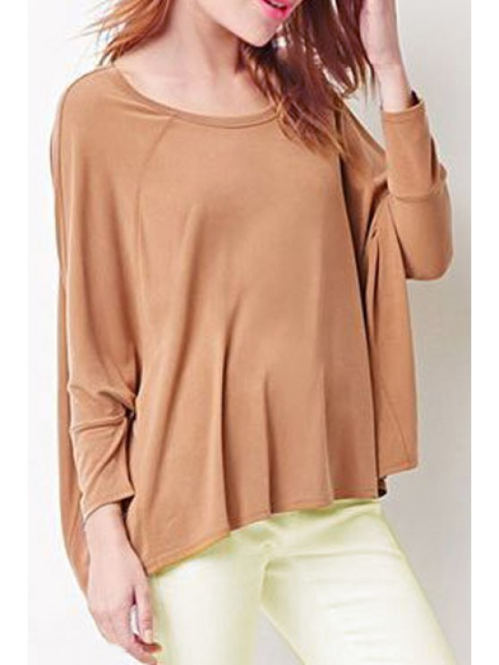 chic Pure Color Long Sleeve Loose T-Shirt - CAMEL XS