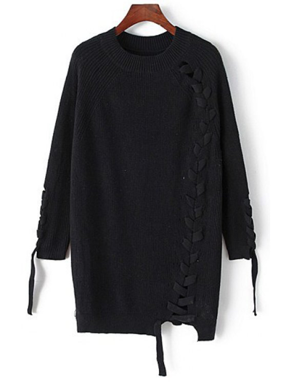 online Solid Color Unique Cross Bandage Long Sleeves Sweater - BLACK ONE SIZE(FIT SIZE XS TO M)