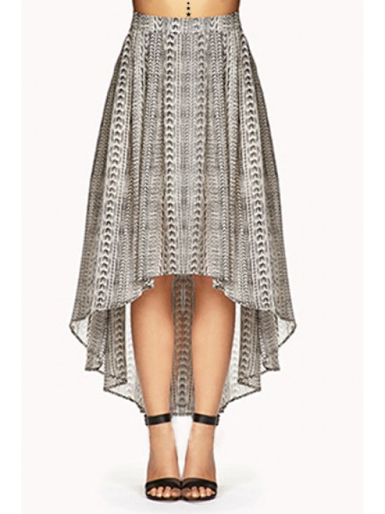 women's Tribal Print High Low Skirt - LIGHT GRAY S