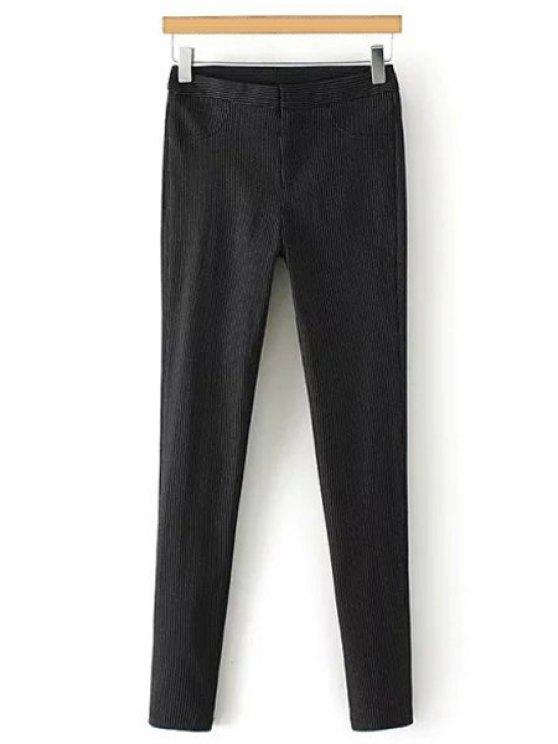 ladies Solid Color Elastic Slimming Narrow Feet Pants - BLACK S