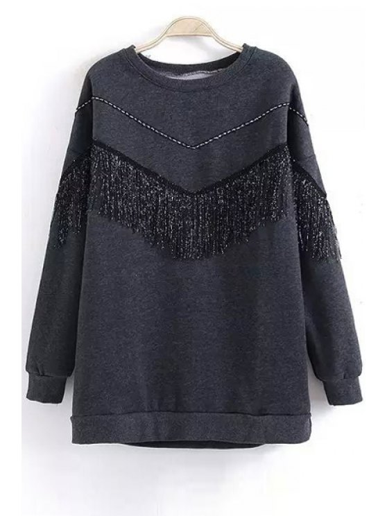 shop Fringes Embellishment Loose Fitting Long Sleeevs Sweater - GRAY ONE SIZE(FIT SIZE XS TO M)