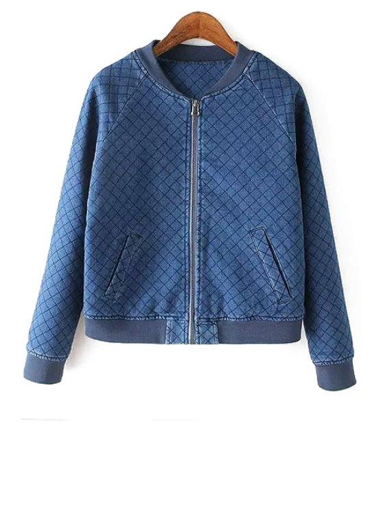 fashion Quilting Denim Stand Neck Jacket - BLUE S