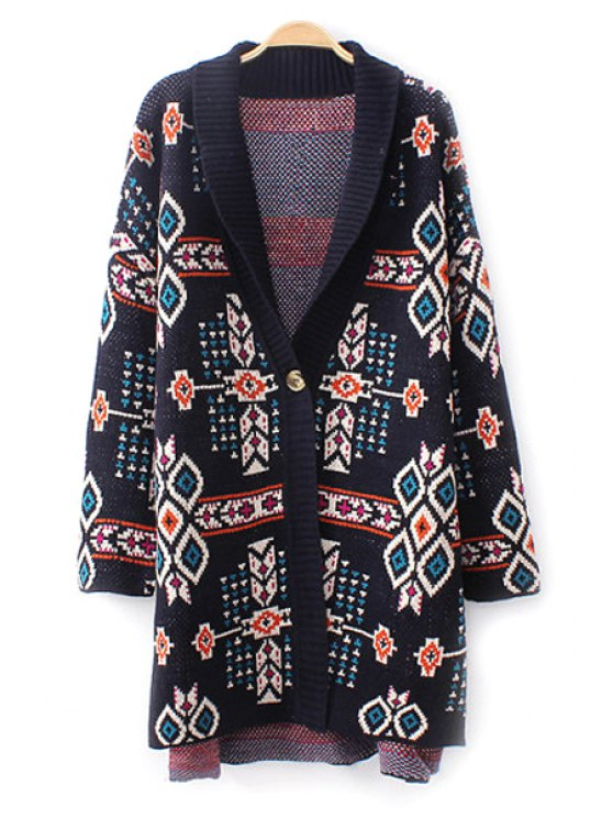 women's Jacquard One Button Long Cardigan - BLACK ONE SIZE(FIT SIZE XS TO M)