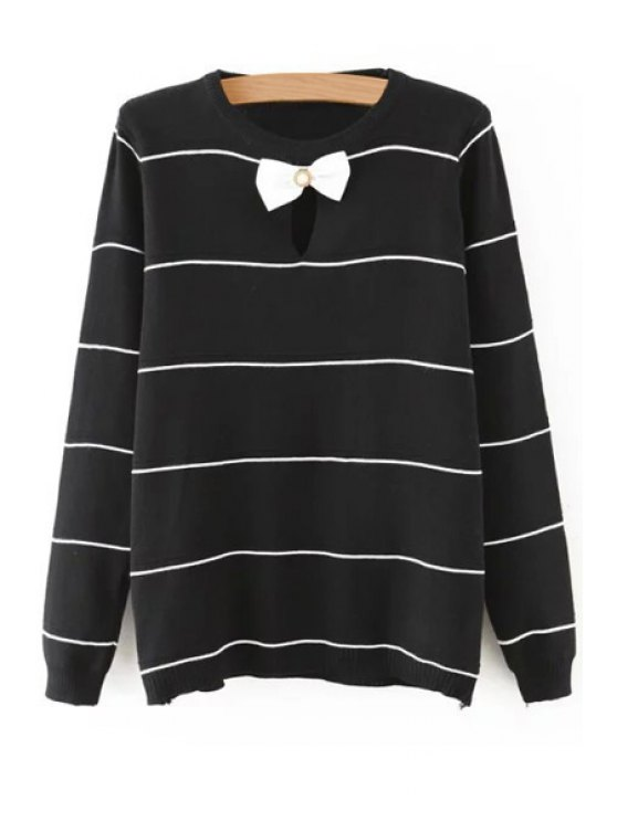 fancy Striped Bow Tie Cut Out Long Sleeves Sweater - BLACK M