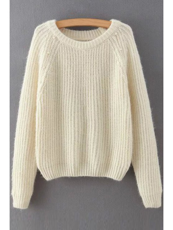 women Solid Color Faux Pearl Embellishment Long Sleeves Sweater - OFF-WHITE M