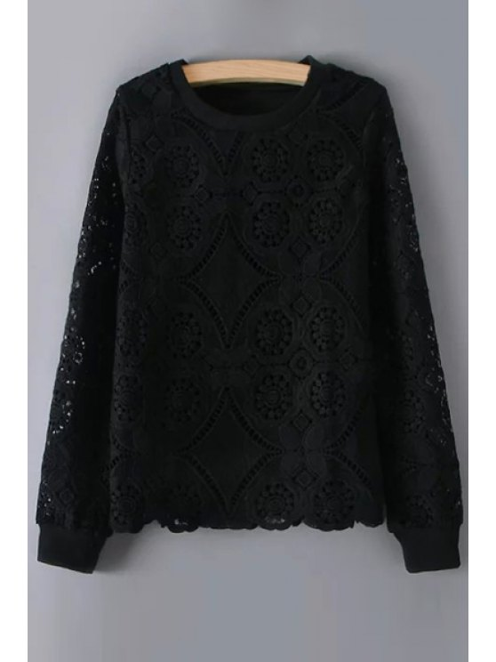latest Openwork Lace Hook Solid Color Long Sleeves Sweatshirt - BLACK M