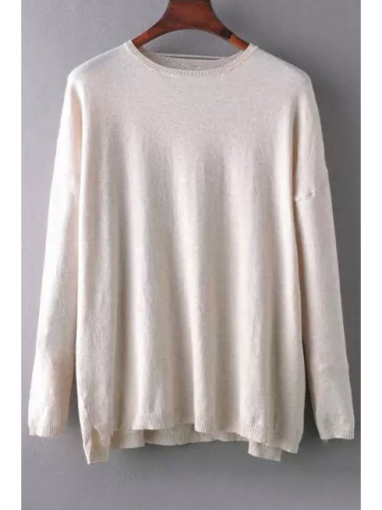 shop Off-White Round Neck Long Sleeve Jumper - OFF-WHITE S