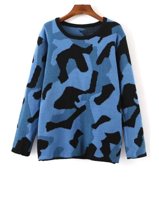 trendy Round Neck Jacquard Camo Sweater - BLUE ONE SIZE(FIT SIZE XS TO M)