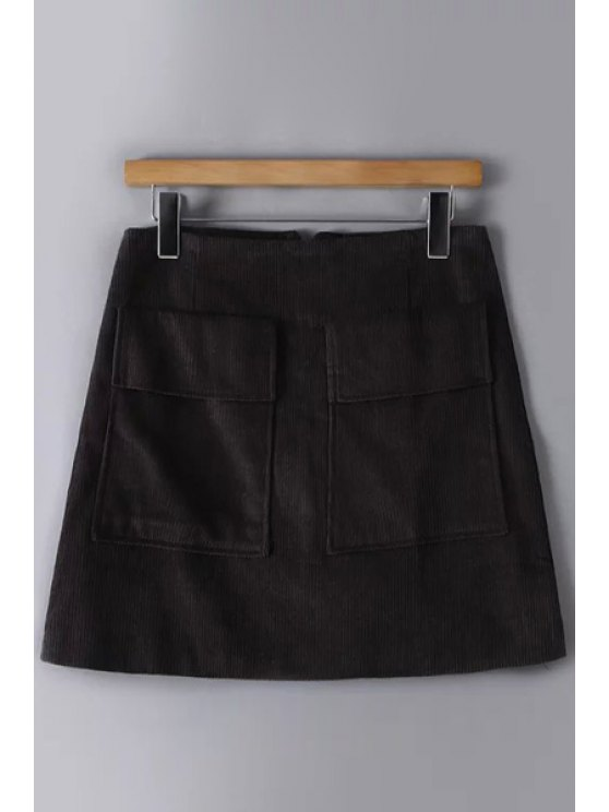 affordable Solid Color Corduroy Pockets Mini Skirt - GRAY M