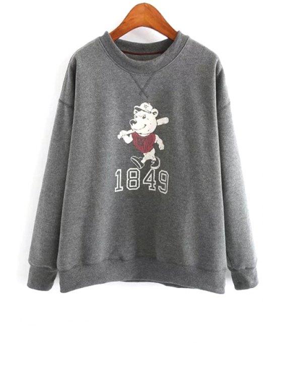 shop Cartoon Bear Print Sweatshirt - GRAY ONE SIZE(FIT SIZE XS TO M)