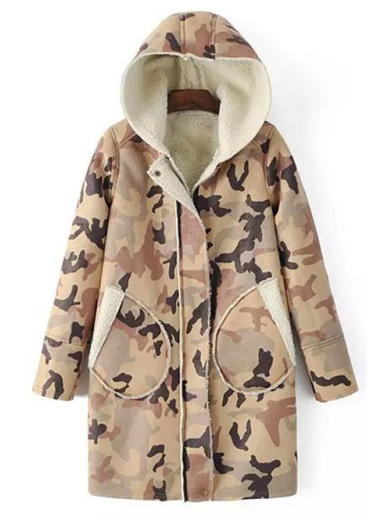 hot Camouflage Print Hooded Long Sleeve Coat - BROWN S