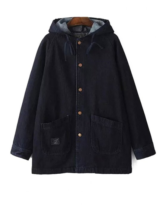 women Pure Color Denim Hooded Long Sleeve Coat - AS THE PICTURE S