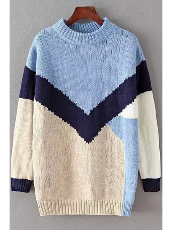 latest Color Block Round Collar Long Sleeve Jumper - BLUE ONE SIZE(FIT SIZE XS TO M)