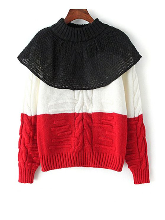 buy Color Block Cape Design Jumper - RED ONE SIZE(FIT SIZE XS TO M)