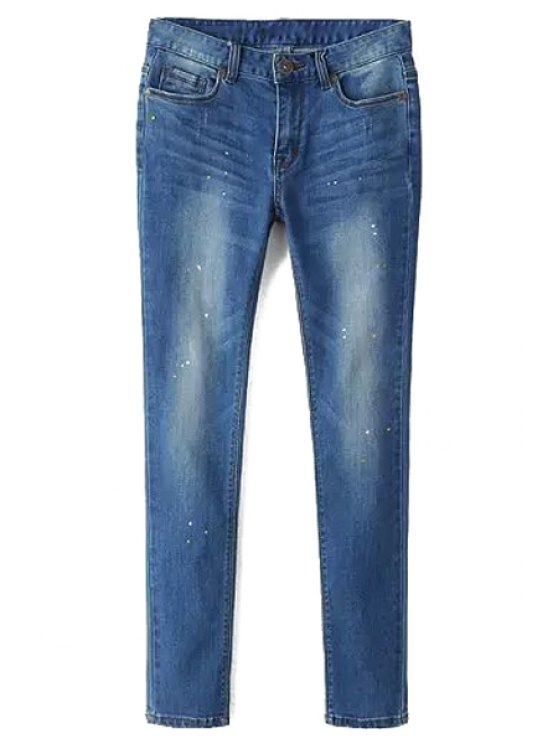 outfit Spray Paint Print Narrow Feet Jeans - BLUE 26