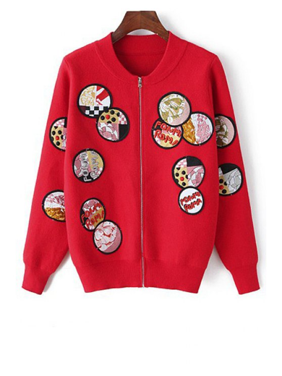 shops Badge Pattern Embroidered Cardigan - RED ONE SIZE(FIT SIZE XS TO M)