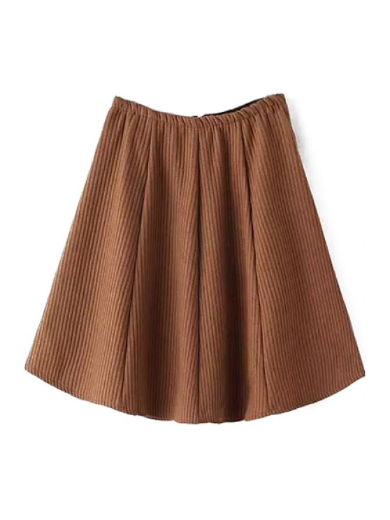 shops Pure Color High Waisted Flare Skirt - KHAKI ONE SIZE(FIT SIZE XS TO M)